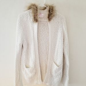 Justice girls white sweater with faux fur trim